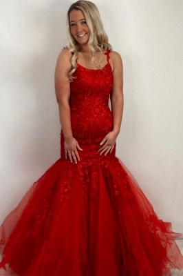 Red Prom Dresses Long Cheap | Evening dresses lace_1