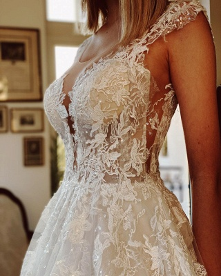 Wedding dress registry office | Wedding dress a line with lace_5