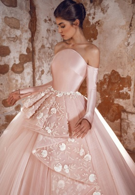 Evening dress long pink | Prom dresses with sleeves_2