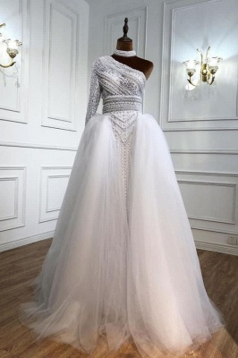 Elegante Abendkleider Lang Weiß | Abiballkleider Mit Ärmel_1