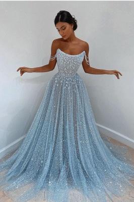 Elegant evening dress light blue | Evening dresses long cheap_1
