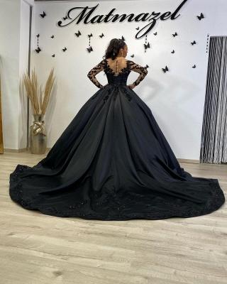 Schwarze Brautkleider mit Ärmel | Prinzessin Hochzeitskleider Spitze_3