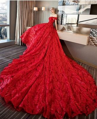 Red wedding dresses | wedding dress lace a line_4