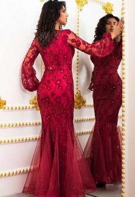 Elegante Abendkleider Lang Rot | Abendmoden mit Ärmel_2