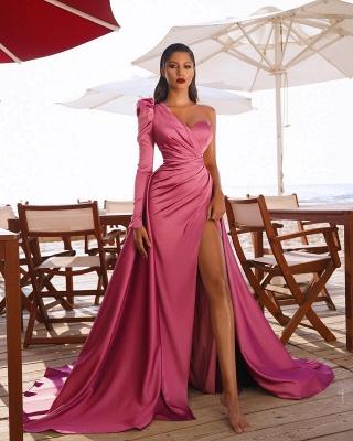 Abiballkleider mit Ärmel | Abendkleid Lang Rosa_4