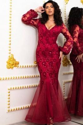 Elegante Abendkleider Lang Rot | Abendmoden mit Ärmel_1