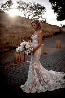 Günstige Hochzeitskleider | Brautkleider Meerjungfrau Spize_4