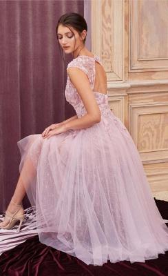Elegant evening dresses pink | Short lace cocktail dresses_2