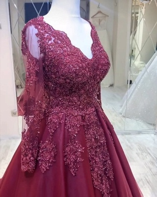 Modern evening dresses with sleeves | Red prom dresses cheap_3
