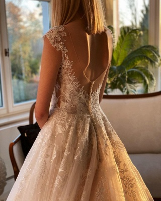 Wedding dress registry office | Wedding dress a line with lace_6