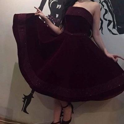 Wine red cocktail dresses short | Evening dresses velvet_2