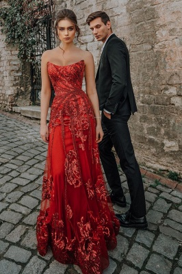 Evening dress red long cheap | Festive dresses prom dresses_4