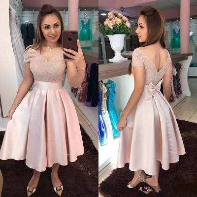 Cocktail dresses short | Prom dresses lace pink_2