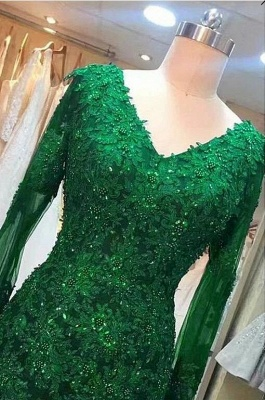 Green evening dress | Evening dresses long with sleeves_3