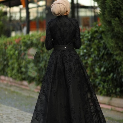 Elegant Evening Dresses Long Black | Evening dress with lace_2