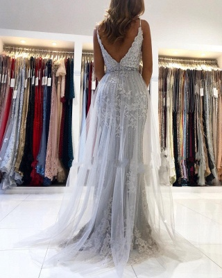 Silver Evening Dresses Long Cheap | Prom dresses with lace_2