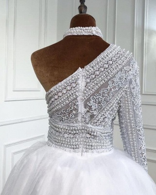 Elegante Abendkleider Lang Weiß | Abiballkleider Mit Ärmel_3