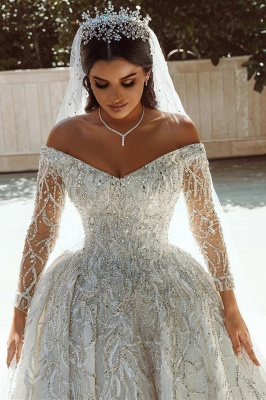 Extravagant wedding dresses A line | Wedding dresses with sleeves