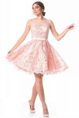 Elegante Cocktailkleider Kurz | Abendkleid Rosa Spitze_1