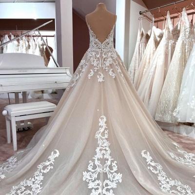 Designer wedding dresses A line | Wedding dress V neckline lace_3