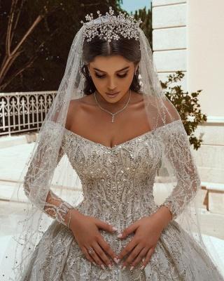Extravagante Brautkleider A Linie | Hochzeitskleider mit Ärmel_6