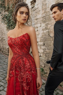 Evening dress red long cheap | Festive dresses prom dresses_3