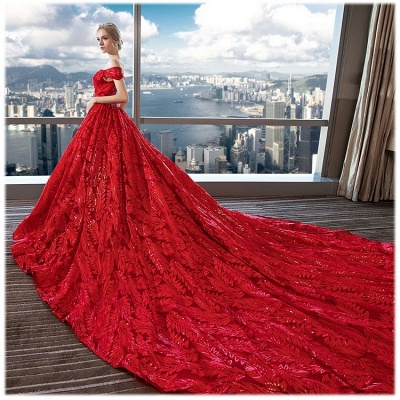 Red wedding dresses | wedding dress lace a line_3