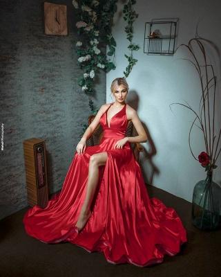 Red Evening Dress Long V Neck | Prom dresses under 100_3