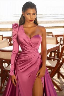 Abiballkleider mit Ärmel | Abendkleid Lang Rosa_2