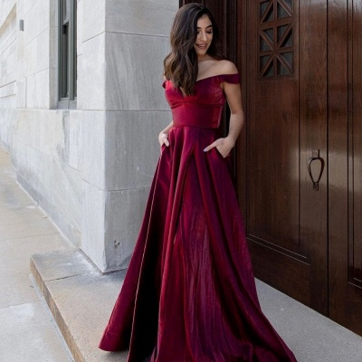 Simple evening dresses long cheap | Red evening wear ladies_3