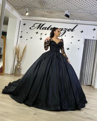 Schwarze Brautkleider mit Ärmel | Prinzessin Hochzeitskleider Spitze_4