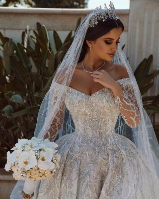 Extravagante Brautkleider A Linie | Hochzeitskleider mit Ärmel_5