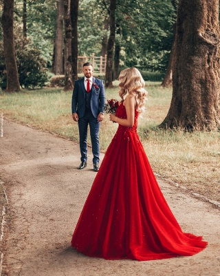 Designer Evening Dresses Long Red | Prom dresses with lace_6