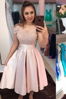 Cocktail dresses short | Prom dresses lace pink_1