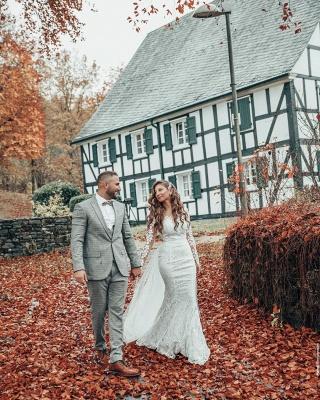 Hochzeitskleid Langarm | Brautkleider Spitze Günstig_4