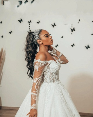 Modern wedding dresses with sleeves | Wedding dresses A line lace_3