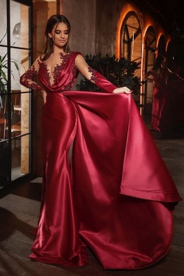 Elegant red prom dresses | Cheap evening dresses with sleeves_1