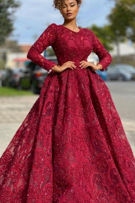 Red evening dresses with lace | Prom dresses long sleeves_1