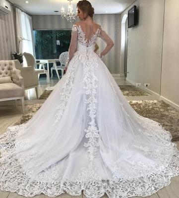 Modern Hochzeitskleider Mit Ärmel | Brautkleider A linie Spitze_2