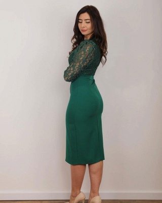 Green evening fashions | Mother of the Bride dresses with lace sleeves_3