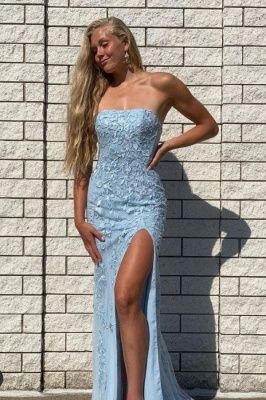Prom dresses long blue | Evening dresses with lace
