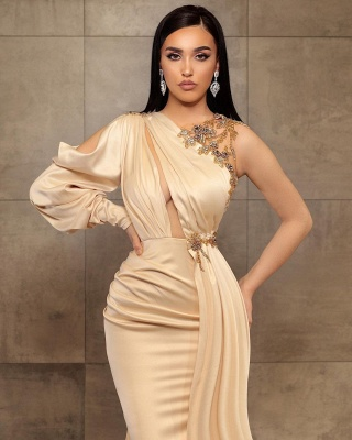 Simple evening dress | Long prom dresses with sleeves_2