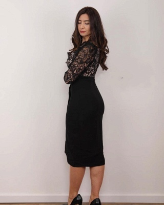 Black Mother of the Bride Dress Cheap | Wedding party dresses with lace_2