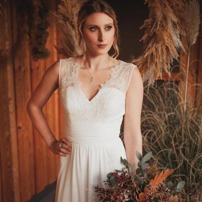 Schlichtes Hochzeitskleid Mit Spitze | Boho Brautkleider Online_2