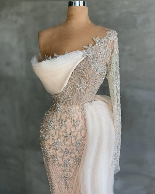 Extravagant evening dresses with sleeves | Long glitter prom dresses_2