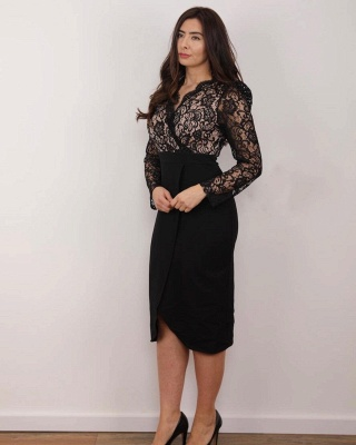Black Mother of the Bride Dress Cheap | Wedding party dresses with lace_3