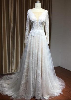 Designer Brautkleid A Linie Spitze | Hochzeitskleider mit Ärmel_2