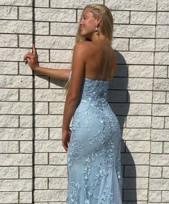 Prom dresses long blue | Evening dresses with lace_3