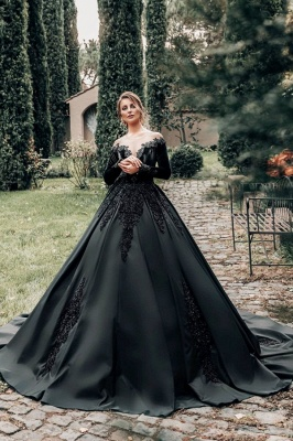 Princess Wedding Dresses Black | Wedding dresses with sleeves
