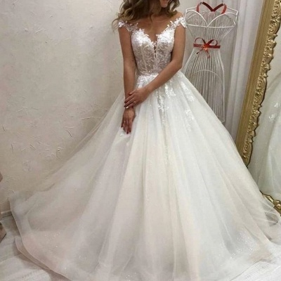 Cheap Sleeveless Tulle A Line Wedding Dresses_3